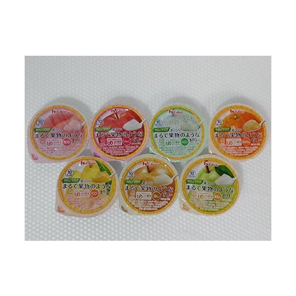 ハウス食品 やさしくラクケア まるで果物のようなゼリー (UDF区分3:舌でつぶせる) バラエティ7種類パック (もも・メロン・洋なし・マンゴー・りん