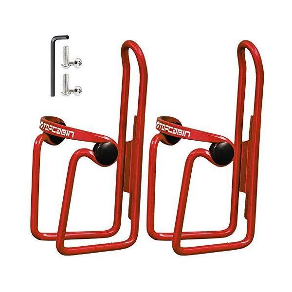TOPCABIN ボトルケージ 自転車ボトルホルダー 超軽量アルミ合金製 サイズ調整可能 クランプ付き (レッド2つ)