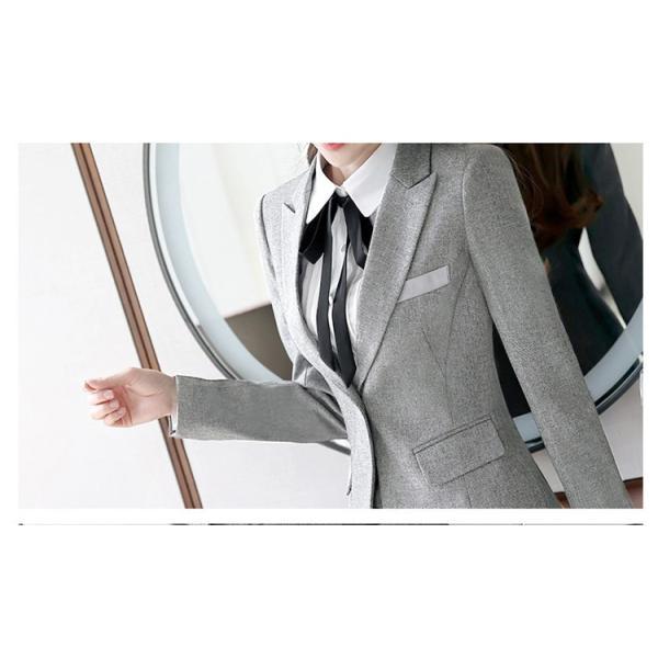 スーツ レディース パンツ スカート 通勤 就活 面接 長袖 2点セット オフィス ビジネス テーラードジャケット ストレッチ 黒 グレー|ytolive|09