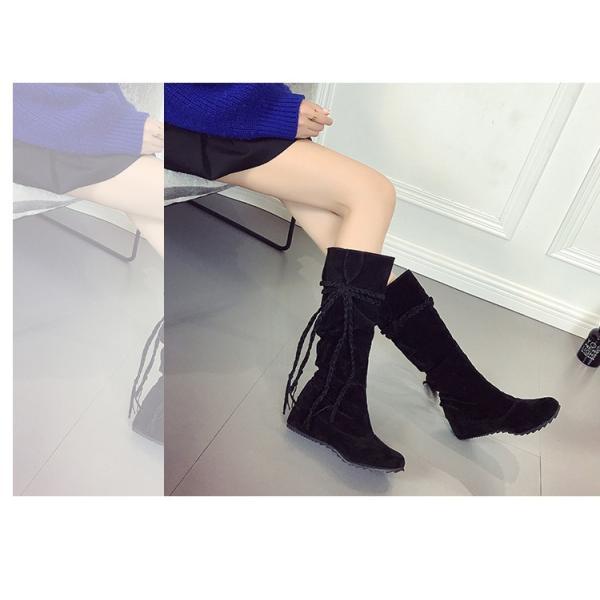 ロングブーツ ロング丈 レディース フリンジ 膝丈 疲れない 歩きやすい 大きいサイズ 秋 冬 靴 インヒール