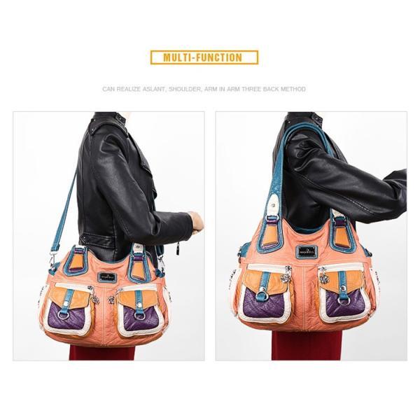 フラップポケットショルダーバッグ 配色 レディース 鞄 斜め掛け トートバッグ 合皮 フェイクレザー 多機能