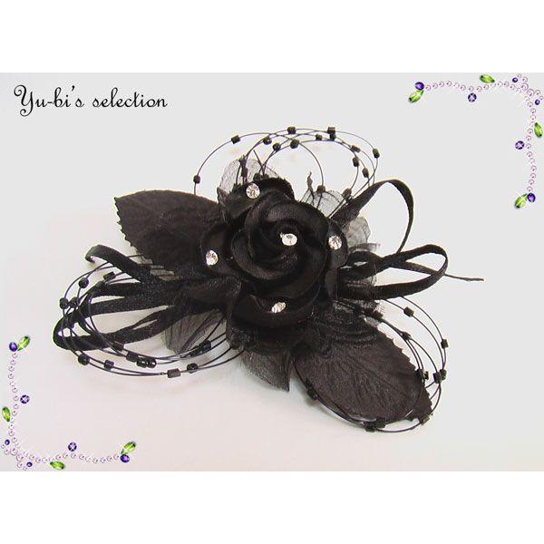 コサージュ 髪飾り 卒業式 入学式 結婚式 花 和装着物 ラインストーン花フラワー&葉っぱコサージュc8黒
