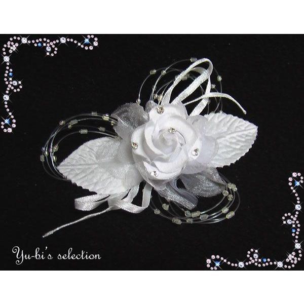 コサージュ 髪飾り 卒業式 入学式 結婚式 花 和装着物 ラインストーン花フラワー&葉っぱコサージュc8白