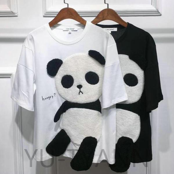 TシャツトップスファッションレディースメンズイラストTシャツパンダ半袖シンプルカジュアルゆったりゆるT半袖大きいサイズカットソー
