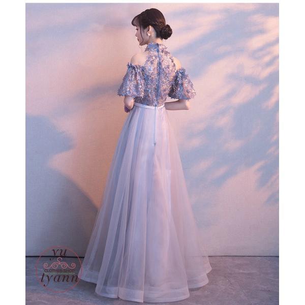 パーティードレス 結婚式 フォーマル ロング丈 袖あり 二次会 マキシ丈ワンピース お呼ばれ 大きいサイズ 二次会 発表会 袖あり 高級上品 30代 40代 50代|yu-tyann|14