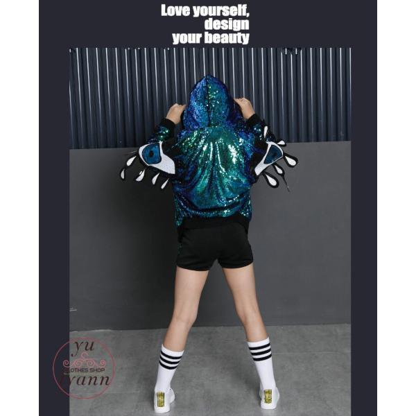 キッズ ダンス衣装 ヒップホップ HIPHOP キラキラ スパンコール 長袖 セットアップ 女の子 ジャズダンス 帽子付き 練習着 演出服 ステージ衣装|yu-tyann|09