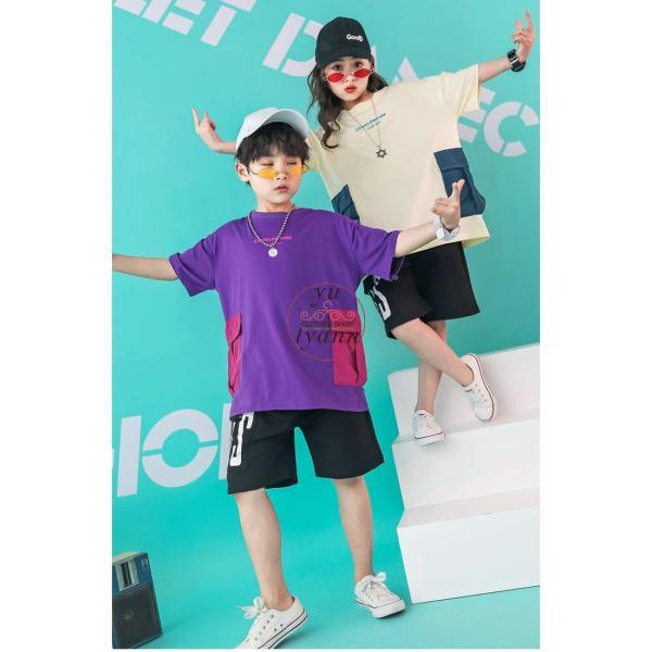 キッズ ダンス衣装 ヒップホップ HIPHOP ダンストップス 子供 男の子 セットアップ ジャズダンス パンツ 女の子 演出服 練習着 ステージ衣装|yu-tyann|08
