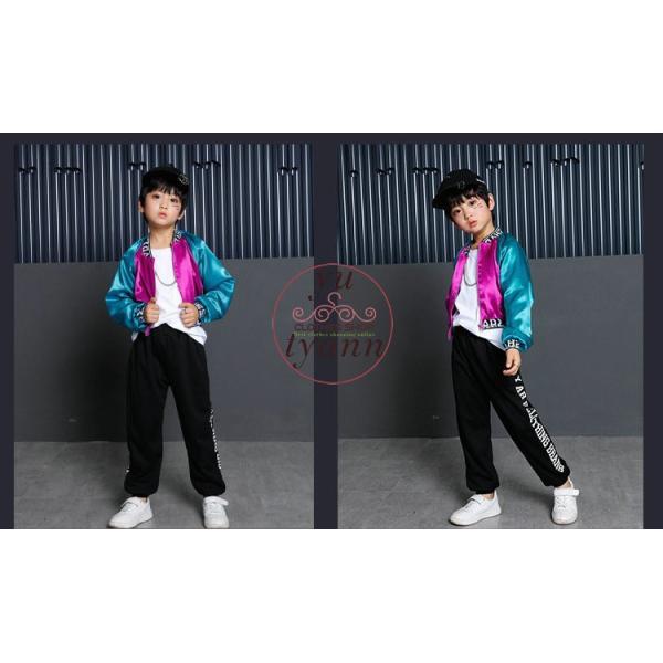 キッズ ダンス衣装 ヒップホップ HIPHOP 長袖 子供 男の子 セットアップ ジャズダンス ズボン コート 女の子 演出服 練習着 ステージ衣装|yu-tyann|12