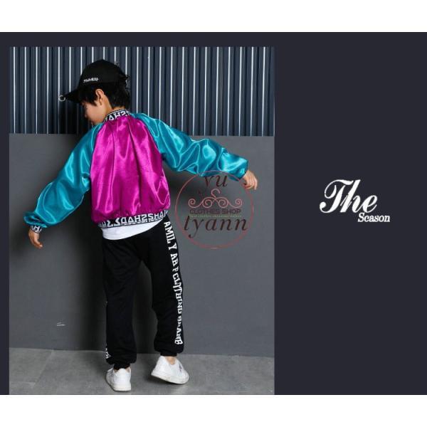 キッズ ダンス衣装 ヒップホップ HIPHOP 長袖 子供 男の子 セットアップ ジャズダンス ズボン コート 女の子 演出服 練習着 ステージ衣装|yu-tyann|14
