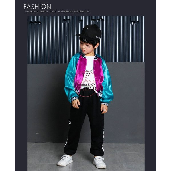 キッズ ダンス衣装 ヒップホップ HIPHOP 長袖 子供 男の子 セットアップ ジャズダンス ズボン コート 女の子 演出服 練習着 ステージ衣装|yu-tyann|10