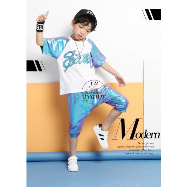 キッズ ダンス衣装 ヒップホップ HIPHOP ダンストップス 子供 男の子 セットアップ ジャズダンス パンツ 女の子 演出服 練習着 ステージ衣装|yu-tyann|04