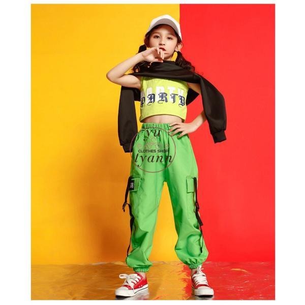 キッズ ダンス衣装 ヒップホップ HIPHOP タンクトップ 子供 半袖 セットアップ ジャズダンス Tシャツ ズボン 女の子 演出服 練習着 ステージ衣装 yu-tyann 11