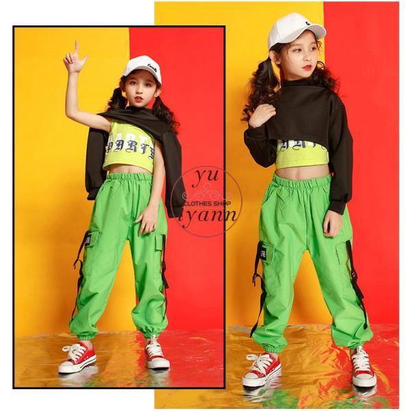 キッズ ダンス衣装 ヒップホップ HIPHOP タンクトップ 子供 半袖 セットアップ ジャズダンス Tシャツ ズボン 女の子 演出服 練習着 ステージ衣装 yu-tyann 12