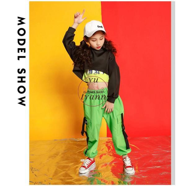 キッズ ダンス衣装 ヒップホップ HIPHOP タンクトップ 子供 半袖 セットアップ ジャズダンス Tシャツ ズボン 女の子 演出服 練習着 ステージ衣装 yu-tyann 05