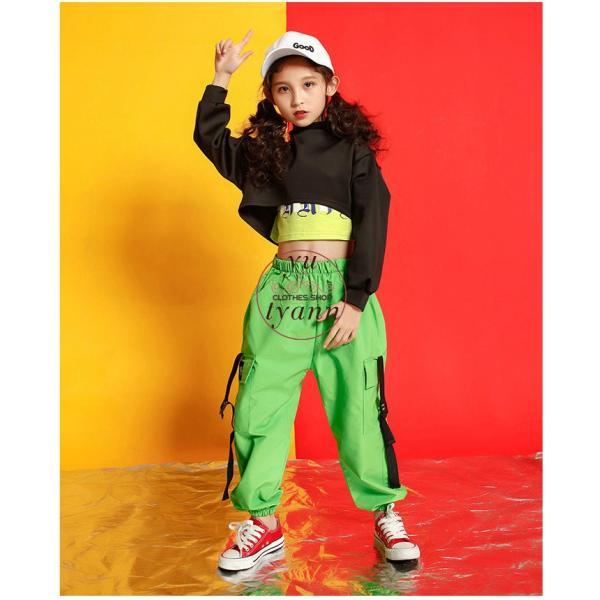 キッズ ダンス衣装 ヒップホップ HIPHOP タンクトップ 子供 半袖 セットアップ ジャズダンス Tシャツ ズボン 女の子 演出服 練習着 ステージ衣装 yu-tyann 07