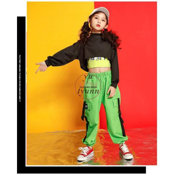キッズ ダンス衣装 ヒップホップ HIPHOP タンクトップ 子供 半袖 セットアップ ジャズダンス Tシャツ ズボン 女の子 演出服 練習着 ステージ衣装 yu-tyann 08