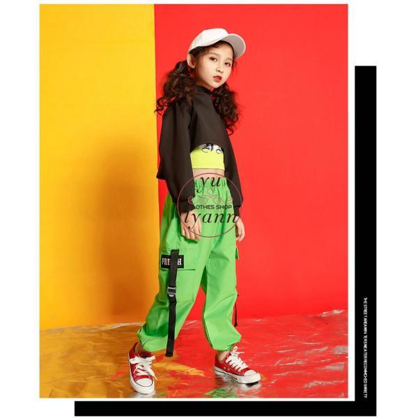 キッズ ダンス衣装 ヒップホップ HIPHOP タンクトップ 子供 半袖 セットアップ ジャズダンス Tシャツ ズボン 女の子 演出服 練習着 ステージ衣装 yu-tyann 10