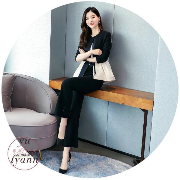 パンツスーツ レディース セットアップ フォーマル オフィス ビジネス かっこいい カジュアル 大きいサイズ 結婚式 ゆったり おしゃれ 20代 30代 40代 50代|yu-tyann|09