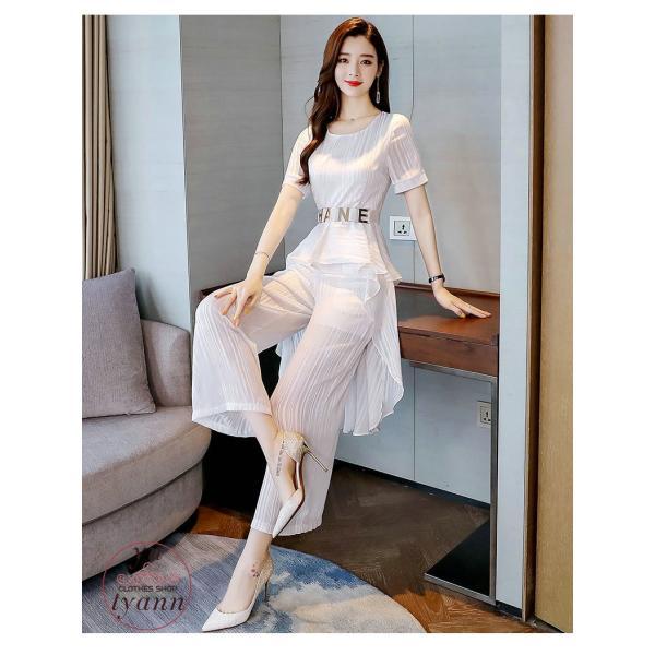 レディース フォーマル オフィス ビジネス ブラウス ズボン 半袖 カジュアル 大きいサイズ ガウチョパンツ 結婚式 カラースーツ 夏 パンツセット 30代 40代 50代 yu-tyann 13