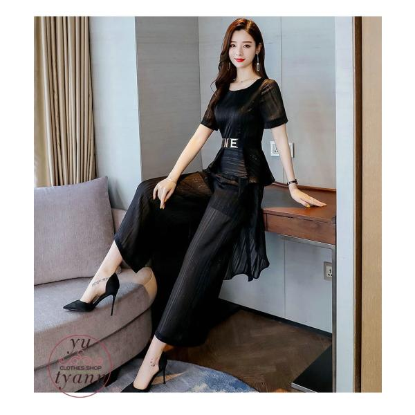 レディース フォーマル オフィス ビジネス ブラウス ズボン 半袖 カジュアル 大きいサイズ ガウチョパンツ 結婚式 カラースーツ 夏 パンツセット 30代 40代 50代 yu-tyann 16