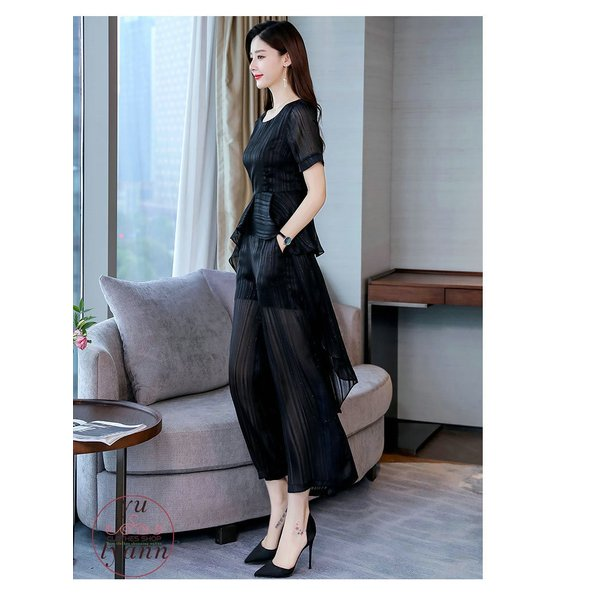 レディース フォーマル オフィス ビジネス ブラウス ズボン 半袖 カジュアル 大きいサイズ ガウチョパンツ 結婚式 カラースーツ 夏 パンツセット 30代 40代 50代 yu-tyann 20