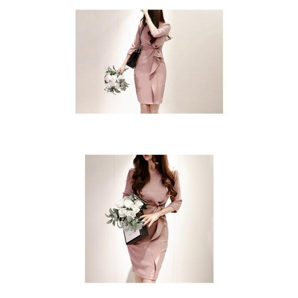 セレモニースーツ レディース ママ 30代 母親 フォーマル 入学式ワンピース 膝丈ワンピース スリム ラッフル シンプル ピンク 上品 気質 OL yu-tyann 14