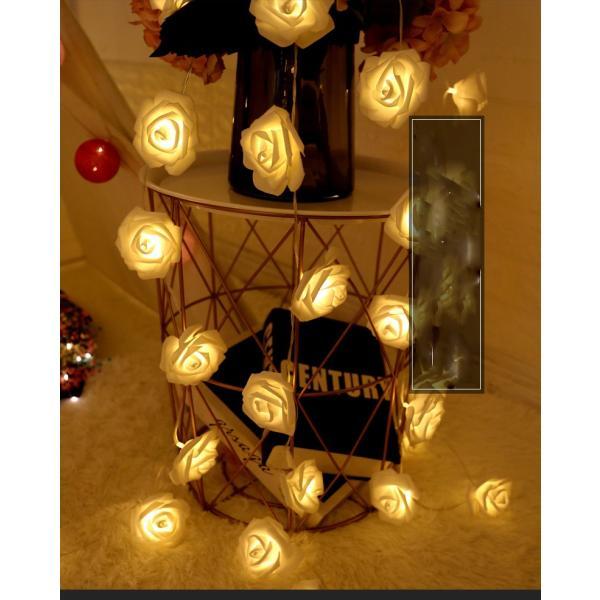 クリスマスツリー クリスマス 装飾ライト 4m ローズ LED電飾 イルミネーションライト 乾電池式 バラ装飾 USB式 北欧 飾り 屋外 室内|yu-tyann|02