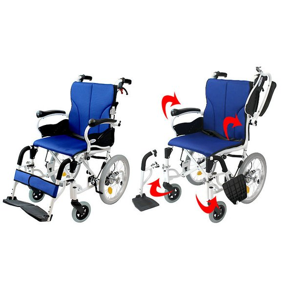 車椅子 折りたたみ コンパクト ケアテックジャパン コンフォート-介助式- CAH-20SU 旧ウィル シート交換可能|yua-shop|06