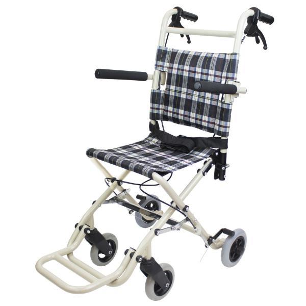 車椅子 軽量 折りたたみ ケアテックジャパン トラベルミニ CA-40 車いす 車イス 介助用 メーカー保証1年付|yua-shop