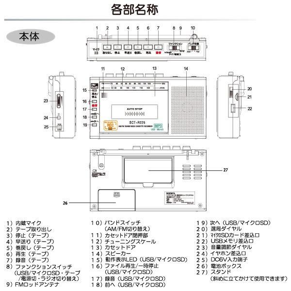 カセットテープレコーダー SCT-R225(K)ブラック マイクロSD/USBメモリー/MP3対応 ワイドFM対応ラジカセ WINTECH/ウィンテック|yuasa-p|03