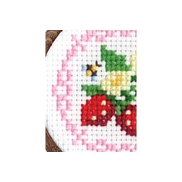 「NO.7443 イチゴとレース」フラワー&フルーツ/フープ付 オリムパス簡単クロスステッチキット  (メール便可/お取り寄せ)|yucasiho|02