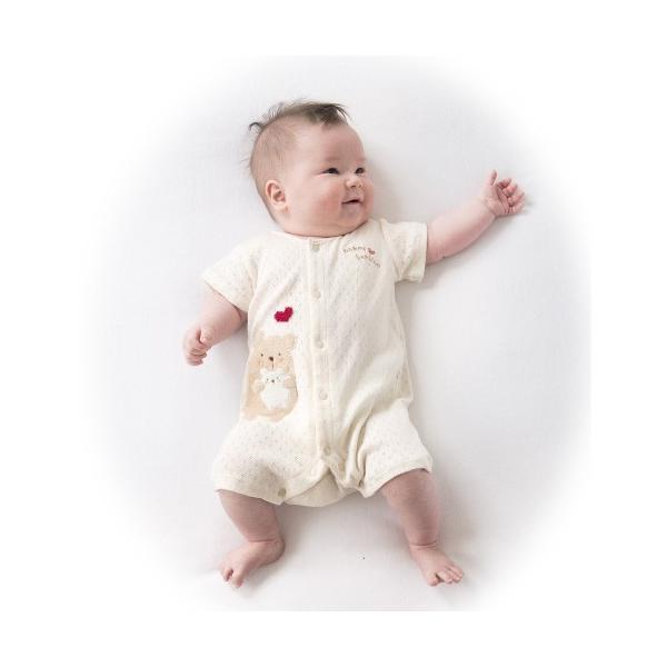 4f273338d35ed ... オーガニックコットン☆半袖ロンパース☆カバーオール☆くま☆新生児〜半年☆日本製
