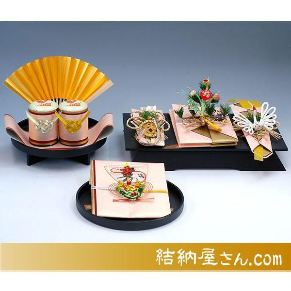 結納-九州式結納品- 孔雀黒塗台セット(九州仕様スタイル1)(毛せん付)
