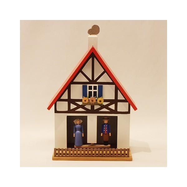お天気ハウス ウェザーハウス ドイツ エルツ地方の工芸品 Erzgebirgs Wetterhaus 木の家 109/11|yukainasakana