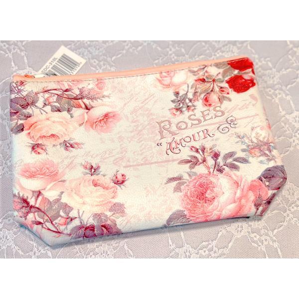 ポーチ ローズ 薔薇のポーチ 薔薇雑貨 バッグ トート rose 化粧ポーチ メイクポーチ コスメポーチ 花柄 かわいい おしゃれ