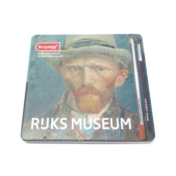 アムステルダム国立美術館×ブランジール 水彩色鉛筆 24色セット 限定パッケージ (ゴッホ×自画像) 筆付き|yumegazai