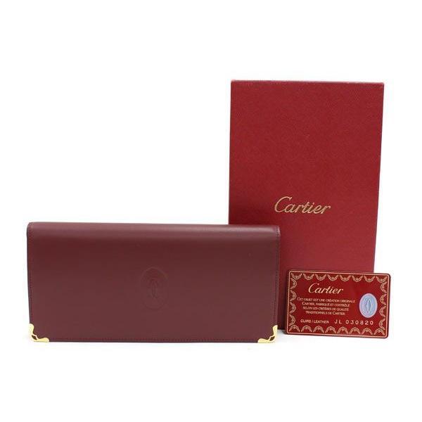 カルティエ 二つ折り長財布 マスト L3000466 ボルドー カーフレザー 中古 ロングウォレット レッド ロゴ入り Cartier