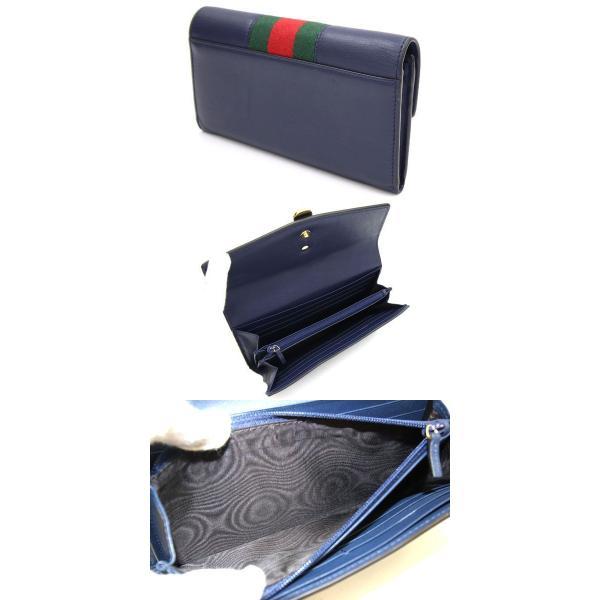 グッチ 二つ折り長財布 シルヴィ コンチネンタルウォレット 476084 ネイビー カーフレザー 中古 ロングウォレット シェリーライン 紺 GUCCI yumeichiba-premium 02