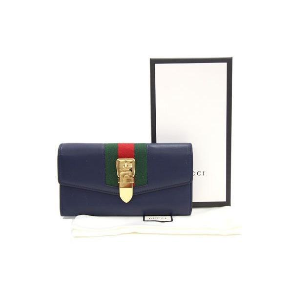 グッチ 二つ折り長財布 シルヴィ コンチネンタルウォレット 476084 ネイビー カーフレザー 中古 ロングウォレット シェリーライン 紺 GUCCI yumeichiba-premium 09
