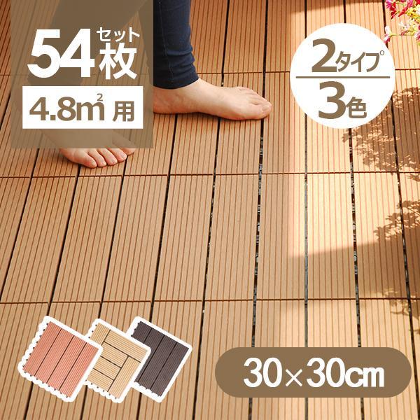 ウッドデッキ タイル 人工木 樹脂 54枚セットウッドパネル 腐らない  北欧 組み立て簡単 ベランダ ガーデン right|yumeka