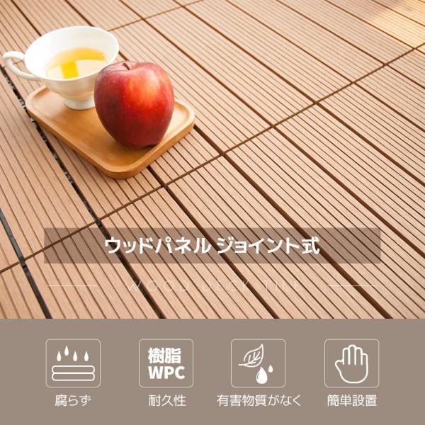 ウッドデッキ タイル 人工木 樹脂 54枚セットウッドパネル 腐らない  北欧 組み立て簡単 ベランダ ガーデン right|yumeka|02