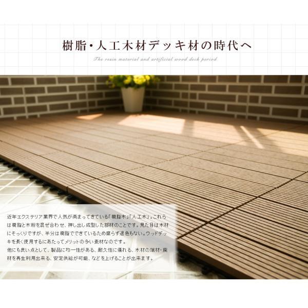 ウッドデッキ 人工木 樹脂 27枚セットウッドパネル 腐らない  北欧 組み立て簡単 ベランダ ガーデン  タイル クステリア|yumeka|04