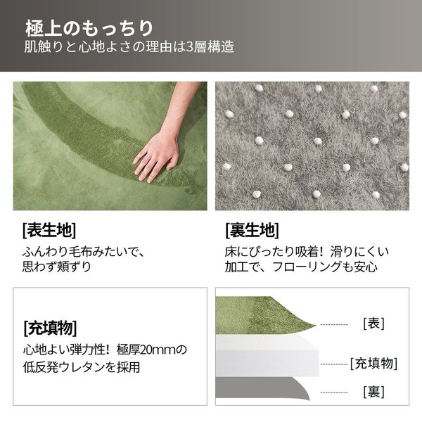 ラグ ラグマット 低反発 おしゃれ 洗える 2畳 200x200cm カーペットラグ 安い 厚手 ラグ  softsea|yumeka|06