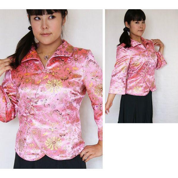 チャイナ 服 トップス 7分袖 カラフル花柄 ピンク 絢爛華麗な二胡の演奏服 黄金多色彩花 M〜Lサイズおすすめ|yumekairo|03