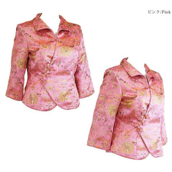 チャイナ 服 トップス 7分袖 カラフル花柄 ピンク 絢爛華麗な二胡の演奏服 黄金多色彩花 M〜Lサイズおすすめ|yumekairo|05