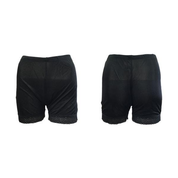 レギンス 2分丈 スパッツ シルク100% 裾レース付き ブラック/ホワイト 絹 ストレッチ生地 お肌に優しい メール便 送料無料|yumekairo|13