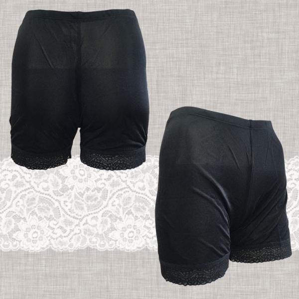 レギンス 2分丈 スパッツ シルク100% 裾レース付き ブラック/ホワイト 絹 ストレッチ生地 お肌に優しい メール便 送料無料|yumekairo|06
