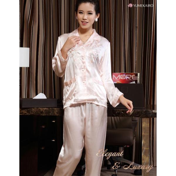 シルクパジャマ 誕生日ギフト レディース 絹100% 長袖 前開き 還暦祝いプレゼント ベビーピンク 花柄刺繍 肌に優しい|yumekairo|04