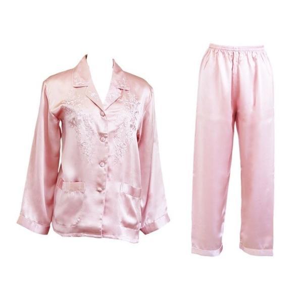 シルクパジャマ ローズピンク 花柄刺繍 100%シルク レディース 絹 長袖 前開き 上下セット 安眠 ナイトウェア ルームウェア 送料無料|yumekairo|12