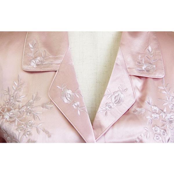 シルクパジャマ ローズピンク 花柄刺繍 100%シルク レディース 絹 長袖 前開き 上下セット 安眠 ナイトウェア ルームウェア 送料無料|yumekairo|09
